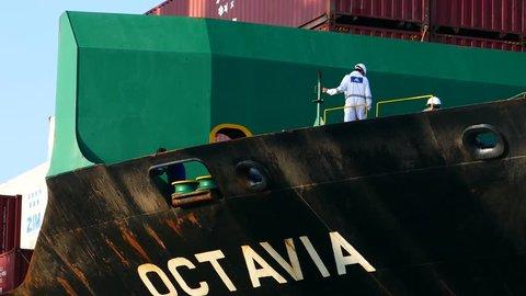 Haifa, Israel - July 9 2018 : Docking a Container Ship