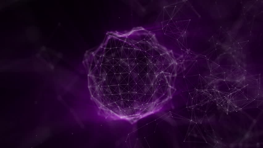 Deforming sphere of particles with violet radiation on a black background. 3D rendering   Shutterstock HD Video #1016711182