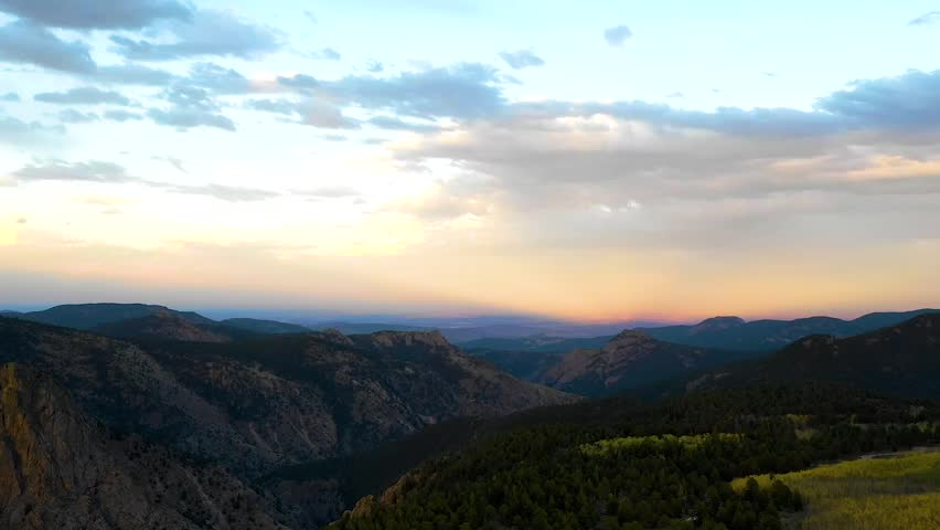 HD Drone Hyperlapse/Timelapse above Allenspark Colorado in the Rocky Mountains at Sunset | Shutterstock HD Video #1016766736