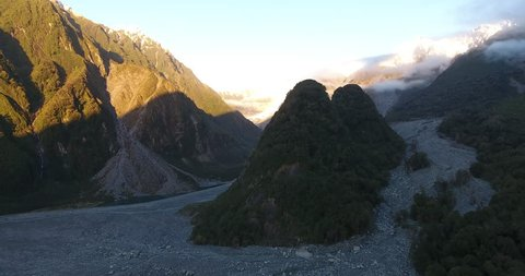 New Zealand glaciers aerial shot