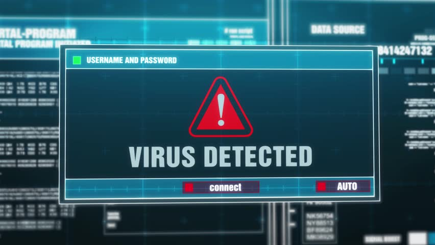 05. Virus detected Warning Notification Generated on Digital System Security Alert Error Message on Computer Screen after Entering Login And Password . Cyber Crime, Computer Hacking Concept