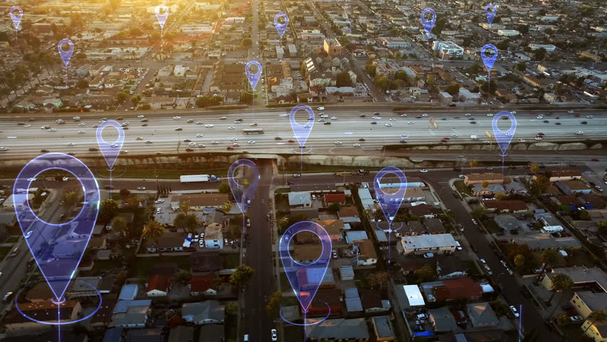 Aerial smart highway. Localization icons in a connected futuristic city.  Technology concept, data communication, artificial intelligence, internet of things. Traffic in a highway. Royalty-Free Stock Footage #1016822005