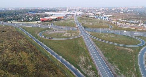 Aerial 4k drone video of road junction from birds sight. Podolsk region, Russia