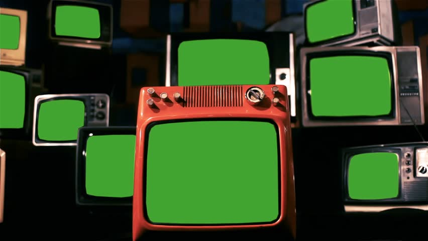 "Stack of Retro TVs Green Screen. Blue Steel Tone. Zoom In. You can Replace Green Screen with the Footage or Picture you Want with ""Keying"" effect in After Effects (check out tutorials on YouTube).  