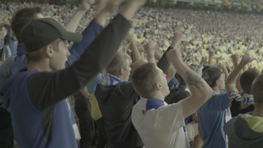 KYIV, UKRAINE – AUGUST  20, 2018. Group of fans at the stadium during the game | Shutterstock HD Video #1016848108