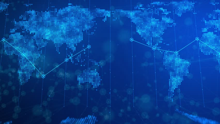 This motion graphics video features a news broadcast world map background . Flat renditions of the world map are on the base and distant background of the clip.