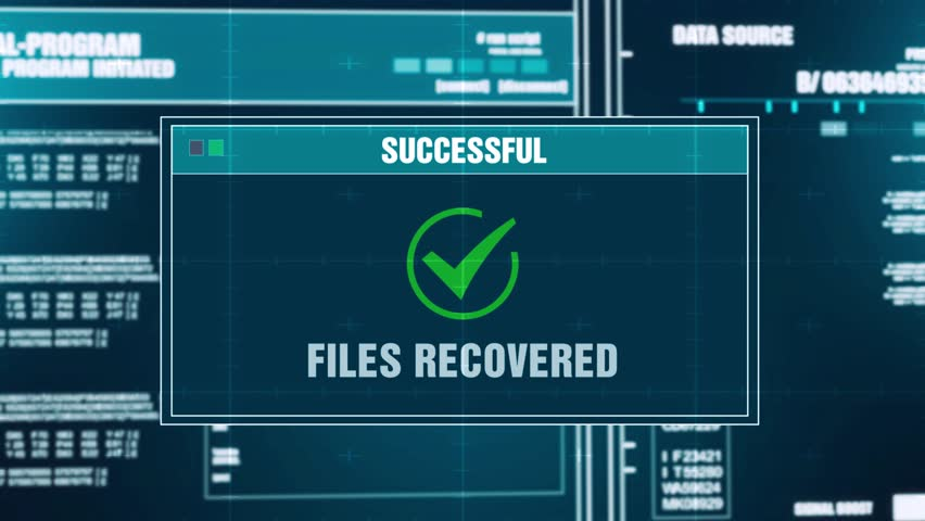 Data Recovery Progress Warning Message Files Recovered Alert on Computer Screen Entering System Login And Password. System Security, Cyber Crime, Computer Hacking Concept