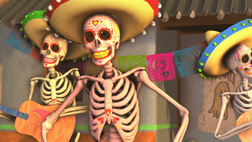 Seamless animation sugar skeletons dancing salsa with mariachis in a tipical mexican village at sunset. Funny Halloween 4K background with decoration for Dia de los muertos
