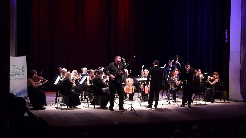 DNIPRO, UKRAINE - JUNE 18, 2018: FOUR SEASONS Chamber Orchestra - main conductor Dmitry Logvin perform  Concertino by Franz Danzi for clarinet and bassoon with orchestra at the State Drama Theatre.