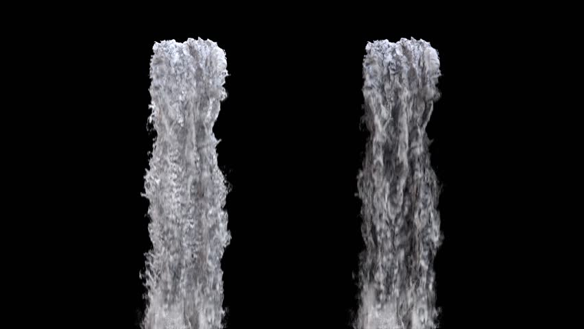 waterfall texture seamless loop, 4k, isolated on black with alpha and separate foam layer #1016925265