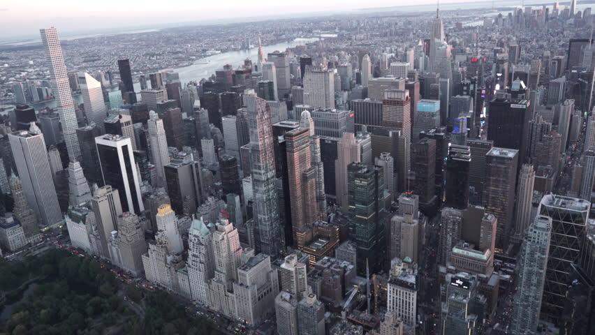 New York City Circa-2015, aerial view over Columbus Circle and Central park daytime | Shutterstock HD Video #1016995648