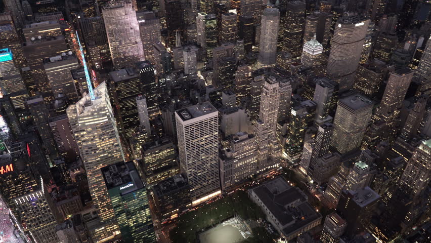 New York City Circa-2015, aerial view over 42nd Street and 5th Avene at night | Shutterstock HD Video #1016996845