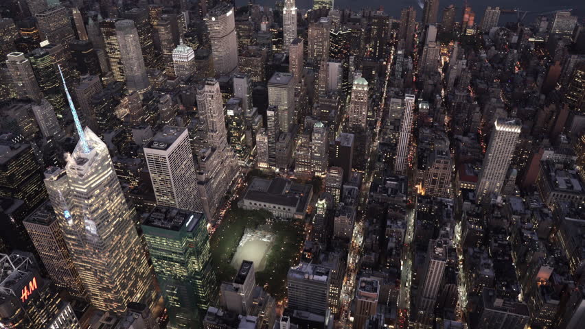 New York City Circa-2015, aerial view over Bryant Park at night | Shutterstock HD Video #1016996860