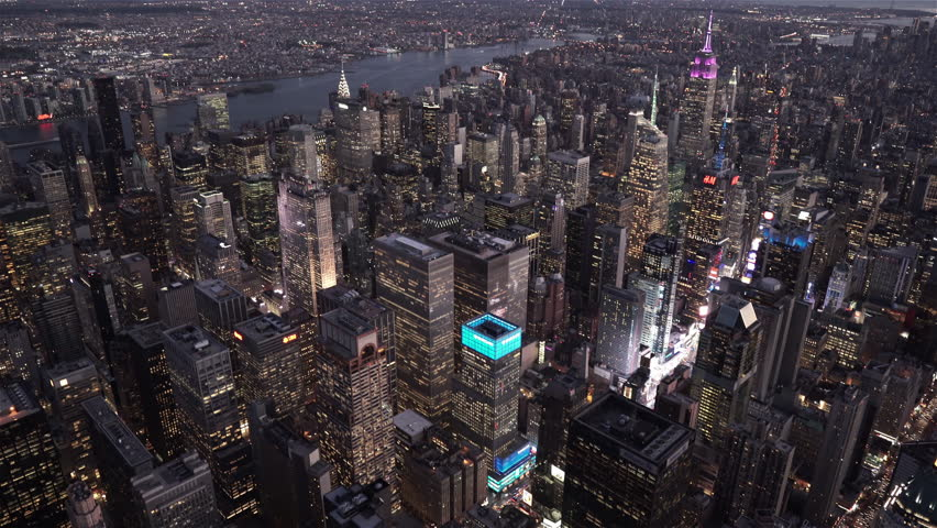 New York City Circa-2015, aerial view of Midtown and Times Square at night from 8th Avenue