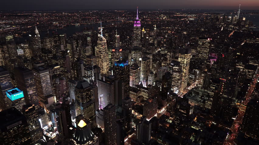 New York City Circa-2015, aerial view of Midtown and Lower Manhattan at night, from 8th Ave by Times Square