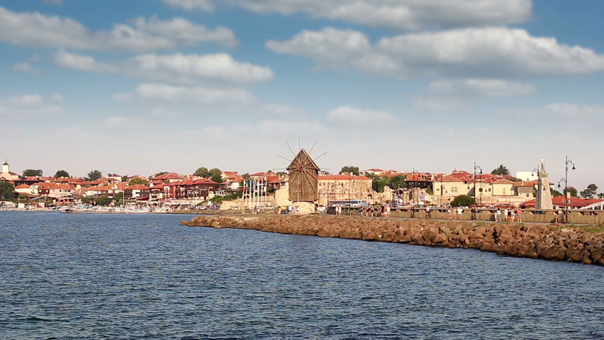 Old town and windmill Nessebar cityscape Bulgaria