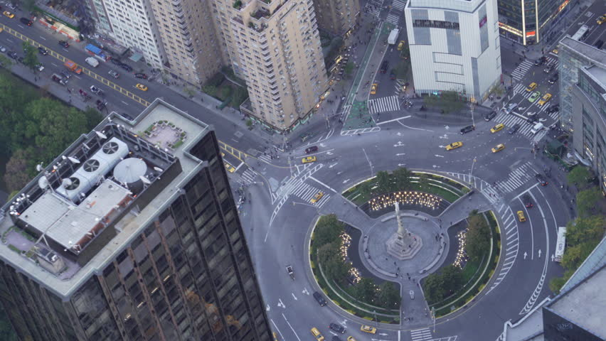 New York City Circa-2015, high angle telephoto aerial view above Columbus Circle