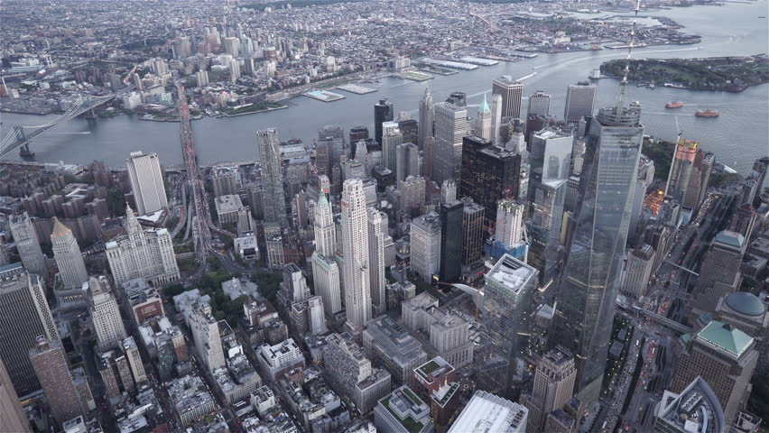New York City Circa-2015, high angle aerial view of Tribeca and Lower Manhattan Financial District | Shutterstock HD Video #1017003646
