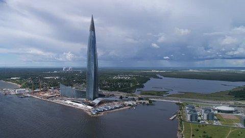 ST. PETERSBURG, RUSSIA - CIRCA AUG 2018: Aerial panorama of St. Petersburg, the skyscraper Lakhta Center and the new stadium, 4k