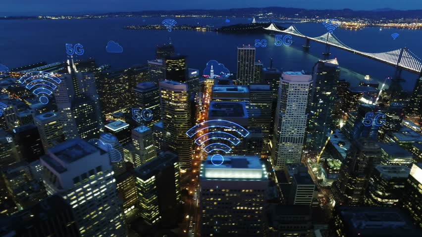 Aerial city connected through 5G. Wireless network, mobile technology concept, data communication, cloud computing, artificial intelligence, internet of things. Futuristic city. San Francisco skyline. | Shutterstock HD Video #1017009535