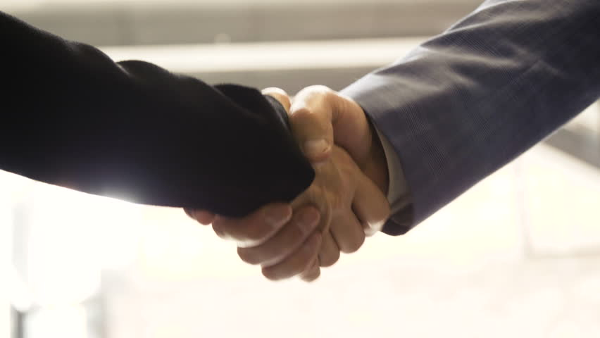 Close up of business man and woman shaking hands on deal greetings.  #1017021277