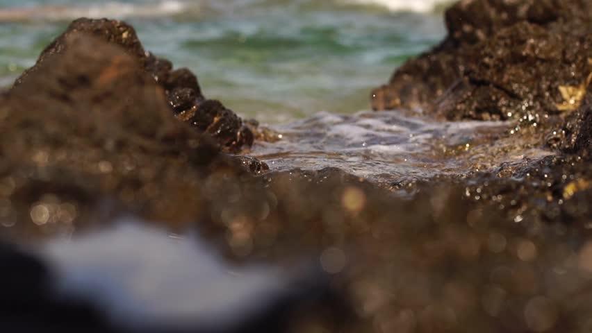 Wild rocky beach with sea waves #1017038581