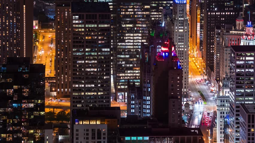 Time-lapse of the Chicago skyline at night from high above | Shutterstock HD Video #1017059737
