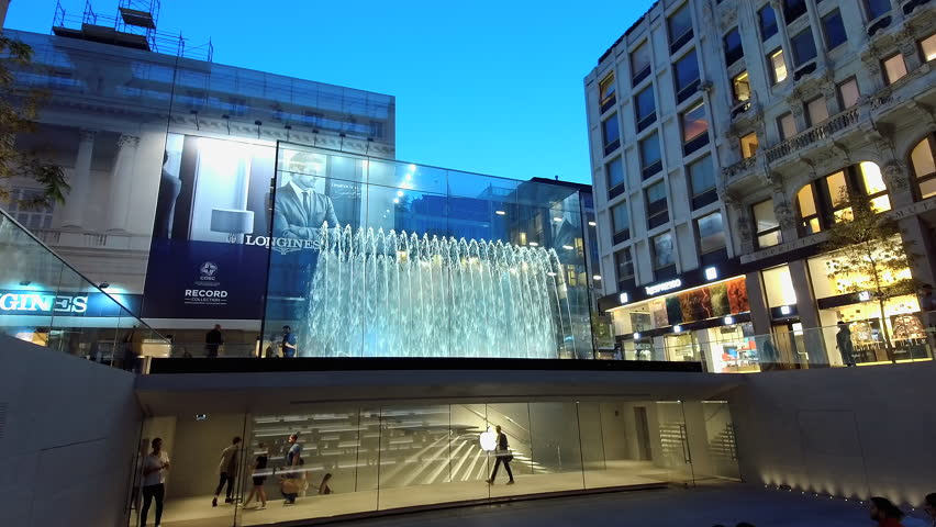 MILAN/ITALY - APPLE STORE Circa September 2018  - in Piazza Liberty Milan (evening)
