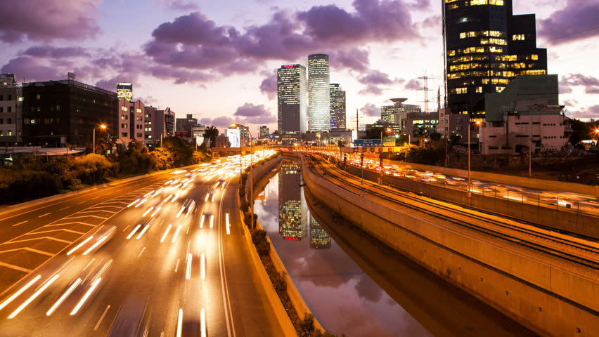 4K - Traffic Time Lapse - Ayalon Freeway From Day To Night | Shutterstock HD Video #10170623