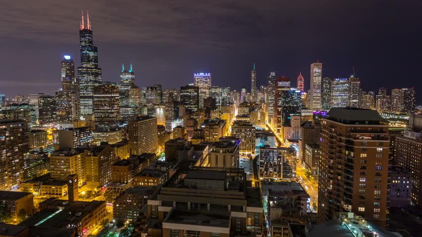 Chicago City Skyline at Night Aerial Timelapse