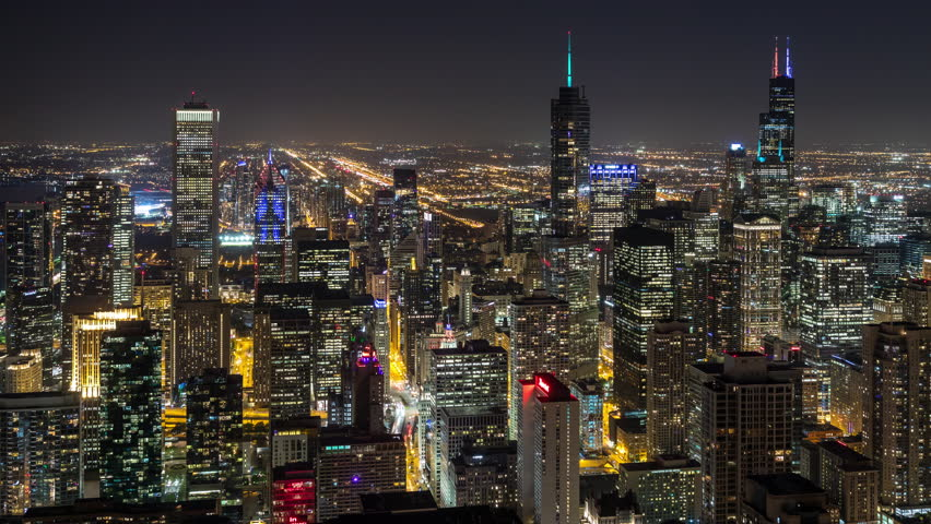 Downtown Chicago Skyscrapers at Night Aerial Timelapse