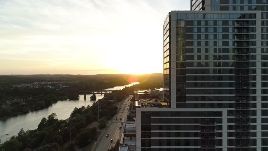4K Aerial Austin Cesar Chavez Sunset Cinematic