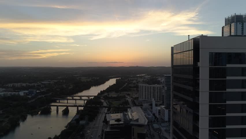 4K Austin Aerial Cesar Chavez Sunset Reveal