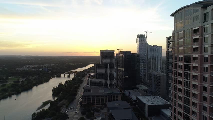 4K Aerial Cesar Chavez Austin Sunset