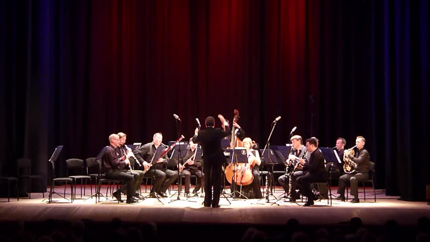DNIPRO, UKRAINE - JUNE 18, 2018: FOUR SEASONS Chamber Orchestra - main conductor Dmitry Logvin perform  Serenade by Antonin Dvorak at the State Drama Theatre.