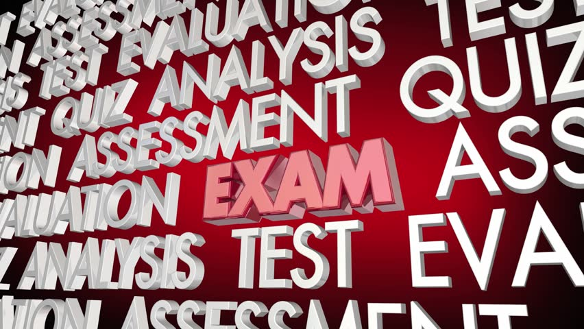 Exam Test Evaluation Quiz Assessment Word Collage 3d Animation   Shutterstock HD Video #1017105769