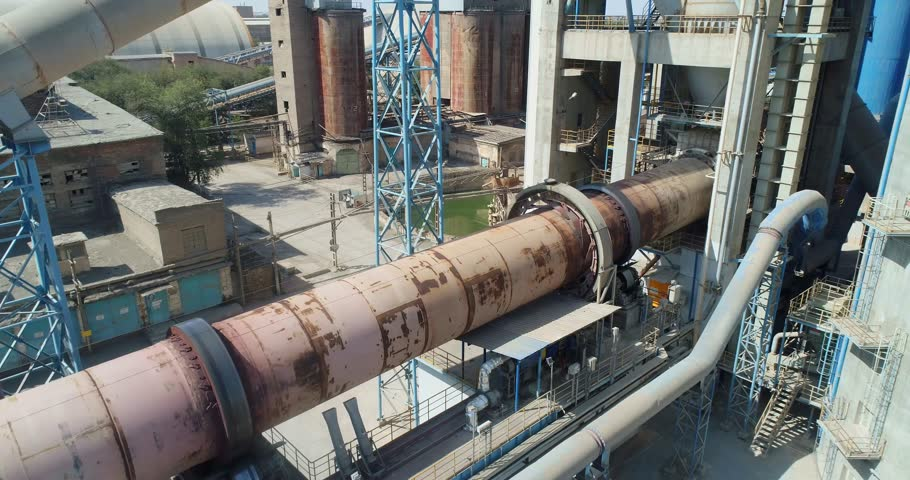 Cement production. Rotary kiln of a cement plant. Aerial View