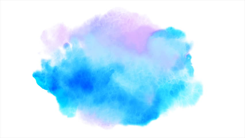 Beautiful blue spot appears on a white background. Light cyan and pink paints spreads on paper forming a blot.