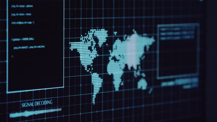 Young Hacker doing Attack on Data Servers and bank's account to still the secret credit card numbers. Working in sci-fi Dark Hideout in front of big screen with fantastic UI interface. Web tehcnology Royalty-Free Stock Footage #1017134302