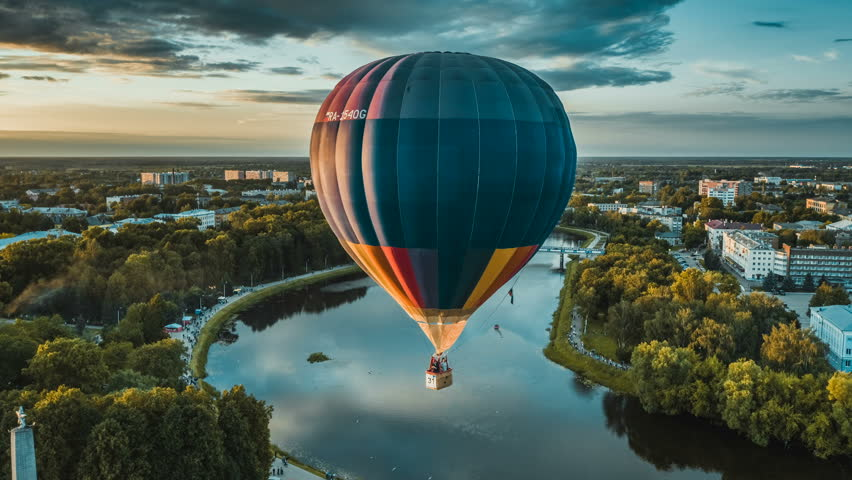 RUSSIA, MOSCOW - SEPTEMBER 2018: Hot air balloons preparing to rise in the early morning dawn