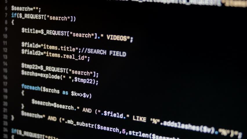 PHP Code Web Server Side Application Scrolling | Shutterstock HD Video #1017176761