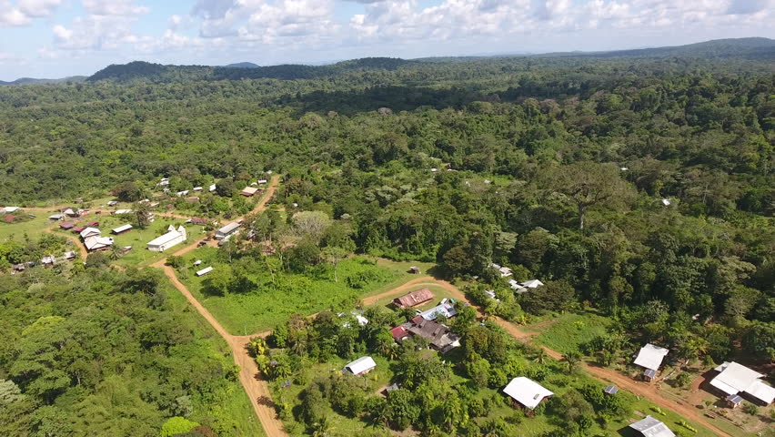 Aerial view of Saul remote village in the Guiana Amazonian Park.