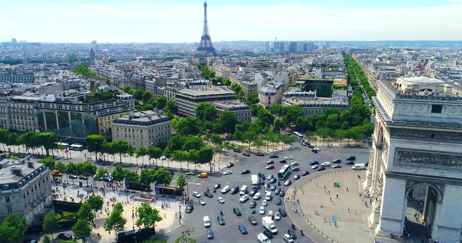 Arc of Triumph Aerial Paris | Shutterstock HD Video #1017185701