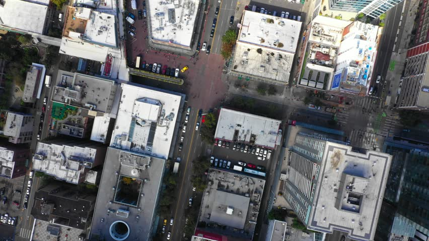 Seattle city overhead aerial video directly facing downward