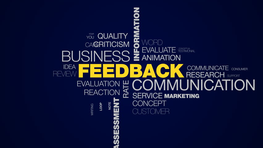 feedback communication business information answer client comment message opinion assessment rating animated word cloud background in uhd 4k 3840 2160.