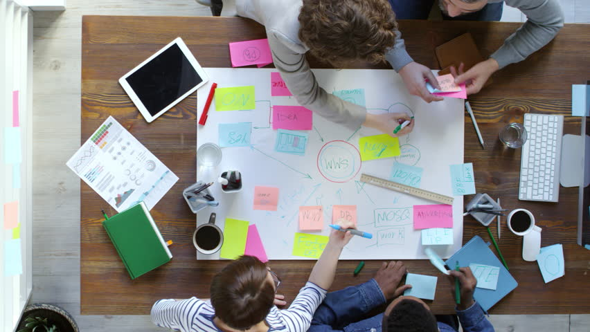 Top view of four creative entrepreneurs drawing large mind map and using sticky notes when discussing project ideas