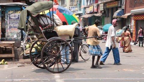 Rickshaw puller Kolkata India 1st Jan 2018