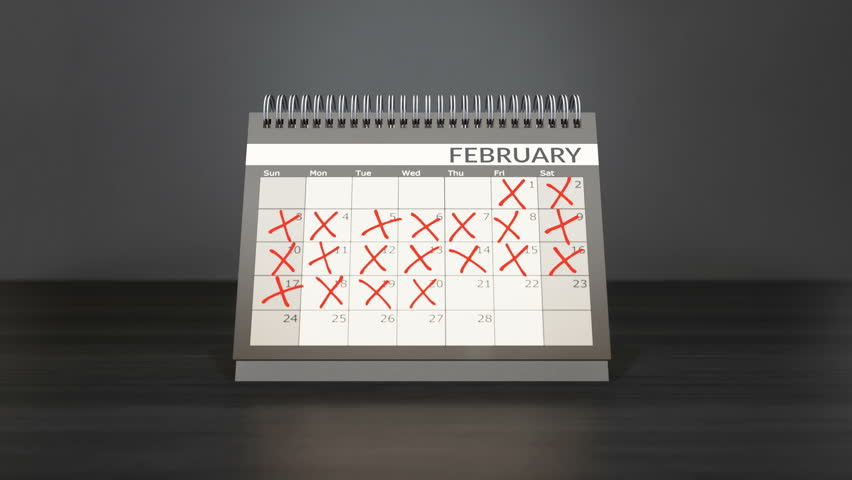 Flagged days in monthly calendar on desk year calendar. Counting down days, flipping pages. Achieving targets goals. Camera fixed, 3d cgi 60fps 4K animation