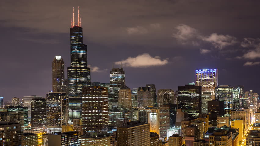 Willis Tower and Chicago Skyline at Night Timelapse