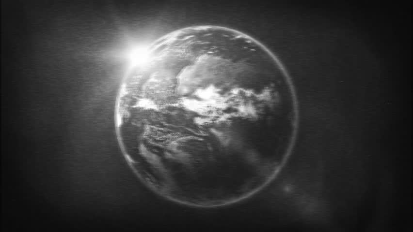 Earth Planet On Retro Black And White Tv Filter/ Animation of a realistic old black and white tv texture filter with earth planet surface rotating | Shutterstock HD Video #1017293731